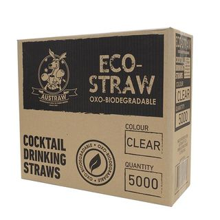 AUSTRAW ECO-STRAW OXO BIODEGRADABLE CLEAR COCKTAIL STRAWS - 5000 - CTN