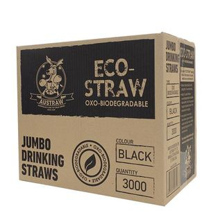 AUSTRAW ECO-STRAW OXO BIODEGRADABLE BLACK JUMBO STRAWS - 3000 - CTN