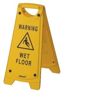 "OATES - WARNING SIGN - YELLOW ""WET FLOOR""  - (IW-105 / 165485) - EACH"
