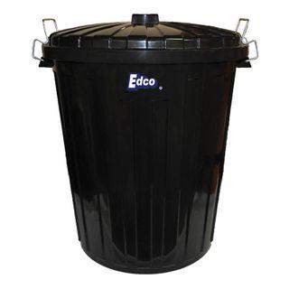 EDCO PLASTIC GARBAGE BIN & LID - BLACK - 73L -EACH