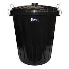 EDCO PLASTIC GARBAGE BIN & LID - BLACK - 55L