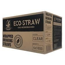 AUSTRAW ECO-STRAW OXO BIODEGRADABLE WRAPPED CLEAR STRAWS - ( 4 BOXES X 1000 ) - 4000 - CTN