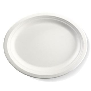 BIOPAK 12.5x10Inch Oval BIOCANE Plate - white - SLV - 125 ( B-PL-16-2 )