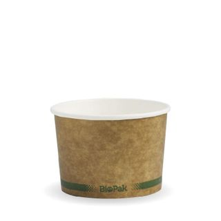 BIOPAK 8oz HOT Bowl - kraft with green stripe - 50 - ( BSCK-8-GS ) - SLV