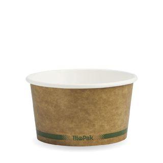 BIOPAK 12oz HOT Bowl - Kraft with green stripe - 25 - ( BSCK-12-GS ) - SLV