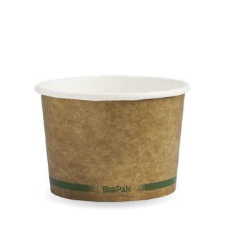 BIOPAK 16oz HOT Bowl - Kraft with green stripe - 25 - ( BSCK-16-GS ) - SLV