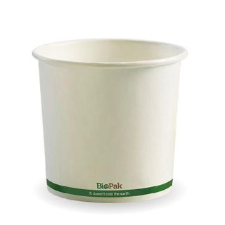 BIOPAK 24oz HOT Bowl - White with green stripe - 25 - ( BSC-24 ) - SLV
