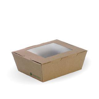 BIOPAK Medium Lunch box with window - 152x120x64mm - FSC Mix - kraft - 50 - SLV ( BB-WLBM-8 )