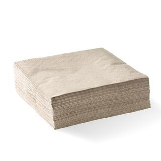 BIOPAK 2 Ply 1/4 fold corner embossed dinner napkin - FSC pulp - natural - 100 - ( L-DNCE1/4-N ) - SLV