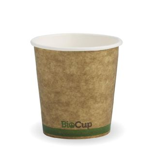 BIOPAK Single Wall CUP - 4oz - Kraft with Green Stripe - 50 -  ( BCK-4-GS ) - SLV