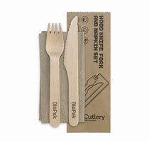 BIOPAK 16cm Knife, Fork & Napkin Set - Wooden FSC 100% - 100 - SLV ( HY-16KFN )