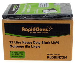 RAPID CLEAN 73L LDPE BLACK BIN LINERS 250-CTN
