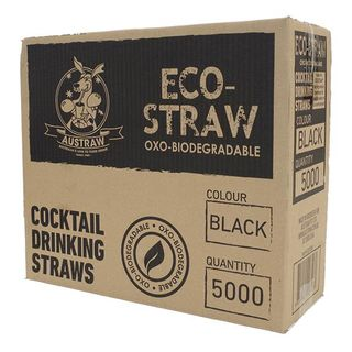 AUSTRAW ECO-STRAW OXO BIODEGRADABLE BLACK COCKTAIL STRAWS - 5000 - CTN
