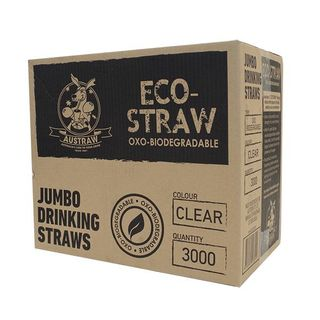 AUSTRAW ECO-STRAW OXO BIODEGRADABLE CLEAR JUMBO STRAWS - 3000 - CTN