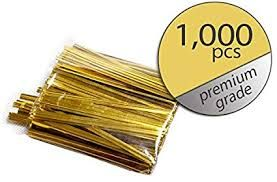 "3"" ( 75MM ) PLASTIC TWIST TIES - GOLD - PKT - 1000 TIES"