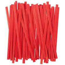 "3"" ( 75MM ) PLASTIC TWIST TIES - RED - PKT - 1000 TIES"