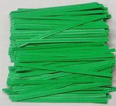 "3"" ( 75MM ) PLASTIC TWIST TIES - GREEN - PKT - 1000 TIES"