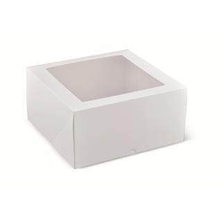 "DETPAK 9"" SQUARE & 4.75"" DEEP PATISSERIE BOX WITH WINDOW (240 X 240 X 120) -100 -CTN"