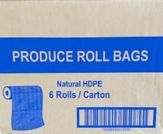 TP MEDIUM 15 X 10  PRODUCE ROLL BAGS NATURAL HDPE - 6 ROLLS -CTN
