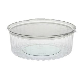 8OZ CLEAR SHOW BOWL WITH HINGED FLAT LID - 250 - CTN