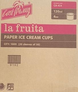 LA FRUITA PAPER ICE CREAM / GELATO CUP- 120ML  / 4OZ- 1000-CTN