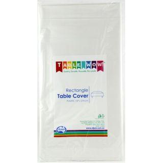 ALPEN PLASTIC TABLE COVER WHITE - 137 X 274CM - 48 ( 4 SLVS OF 12 ) - CTN