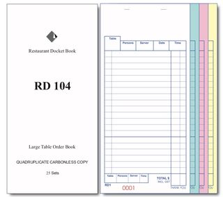 RD104 QUADRUPLICATE DOCKETBOOK -100 - CTN