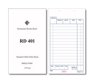 RD401 SINGLE PAGE DOCKET BOOK -100 -CTN