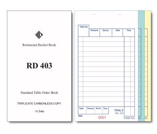RD403 TRIPLICATE CARBONLESS DOCKET BOOK 170 x 100mm -100-CTN