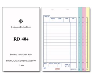 RD404 QUADRUPLICATE DOCKET BOOK -100-CTN