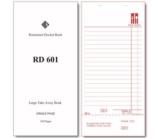 RD601 TAKE AWAY DOCKET BOOK -100 -CTN