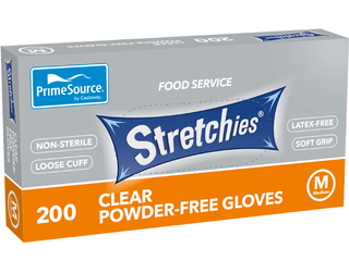 PRIME SOURCE CLEAR STRETCHIE GLOVES - MEDIUM - POWDER FREE - 2000 - CTN