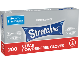 PRIME SOURCE CLEAR STRETCHIE GLOVES - LARGE - 2000 - CTN