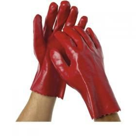 OATES RED LIQUID RESISTANT GLOVES - SHORT 270MM ( R-32 ) - PAIR