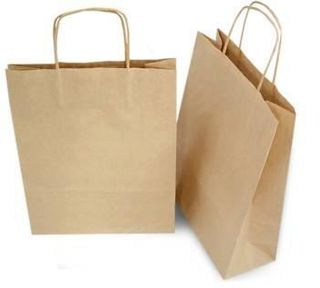 FUTURE FRIENDLY BROWN SMALL 350 X 260 + 110MM TWISTED HANDLED CARRY BAG  -50 -PKT