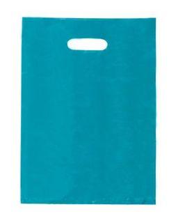 PAPER BAG Aqua Blue SML Diecut (380x255) - 100 - SLV