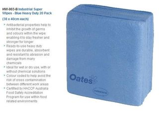 OATES INDUSTRIAL SUPER WIPES BLUE 20 X 38CM X 40CM - 20 WIPES / PKT