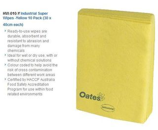 OATES INDUSTRIAL SUPER WIPES YELLOW 20 X 38CM X 40CM - 20 WIPES / PKT