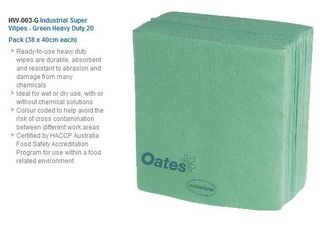 OATES INDUSTRIAL SUPER WIPES GREEN - 20 X 38CM X 40CM - 20 WIPES / PKT