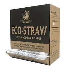 AUSTRAW ECO-STRAW OXO BIODEGRADABLE WRAPPED CLEAR STRAWS - 1000 - DISPENSER BOX