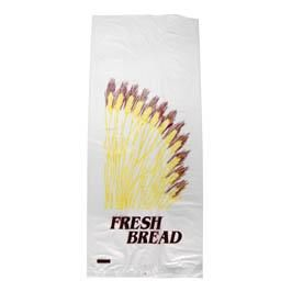 "BREAD BAG PRINTED HDPE ""FRESH BREAD"" 450 X 185 + 50MM - 100 - SLV"