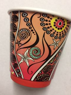 CUSTOM 8oz (90mm) AUSSIE ART CUP - INDIGENOUS PRINT - DOUBLE WALL PLA - 500 - CTN