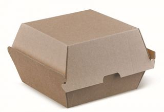 DETPAK BROWN KRAFT EXTRA LARGE BURGER BOX / CLAM 110 x 110 x 105mm - 150 - CTN