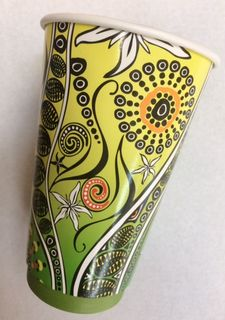 CUSTOM 16oz (90mm) AUSSIE ART CUP - INDIGENOUS PRINT - DOUBLE WALL PLA - 25 - SLV