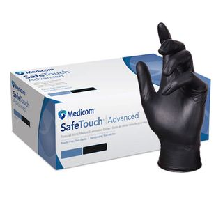 MEDICOM SAFETOUCH ADVANCE GUARD BLACK NITRILE PF GLOVES - MEDIUM -100 -PKT