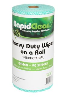 RAPID CLEAN H.D. WIPES ROLL - GREEN - 45MTR -6-CTN