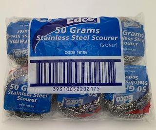 EDCO 50g STAINLESS STEEL SCOURER -18106 - 6 PACK