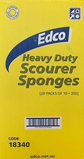 EDCO YELLOW & GREEN SPONGE SCOURER - CTN - 20 PACKS -200