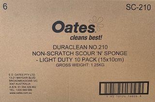 OATES DURA CLEAN YELLOW & WHITE SPONGE SCOURER -(SC-210 / 165855) -  6 X 10 PACKS-CTN