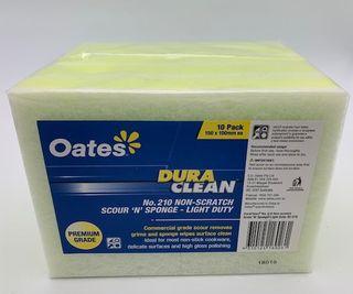 OATES DURA CLEAN YELLOW & WHITE SPONGE SCOURER -(SC-210 / 165855) - 10 PACK